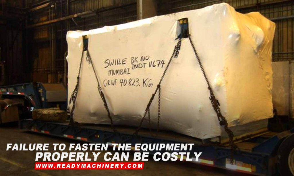 Failure to fasten the equipment properly can be costly